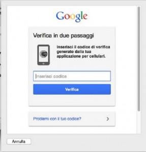 Schermata di Google dove vi è il campo in cui inserire il codice di verifica