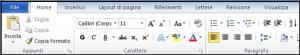 Parte di schermata di Word contenente la barra multifunzione