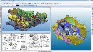 Schermata di un programma CAD con due motori sezionati