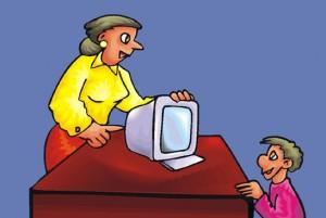 Disegno di una insegnante semi nascosta dietro ad un computer davanti al quale sta un bambino