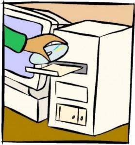 Disegno schematico di un computer con il lettore CD aperto ed una mano che vi sta inserendo un CD