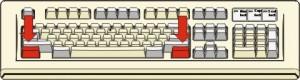 figura di tastiera con evidenziati in rosso i due tasti Ctrl presenti in essa