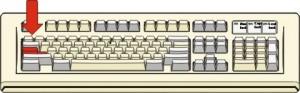 Figura di tastiera con evidenziato in rosso il tasto che serve per scrivere tutte le lettere maiuscole