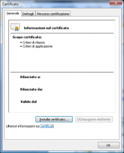 finestra delle proprietà di un certificato digitale