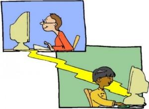 Disegno composta da un riquadro azzurro e uno verde con dentro un ragazzo che lavora al computer. I computer sono collegati tra loro da una strada gialla