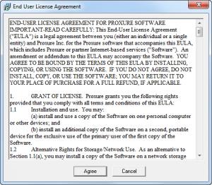 Finestra con visualizzate le condizioni di uso di un programma ed il pulsante Accetto