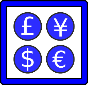 Disegno di una cornice che contiene 4 cerchi azzurri che dentro hanno il simbolo del Franco Francese, dello Yen, del Dollaro e dell Euro