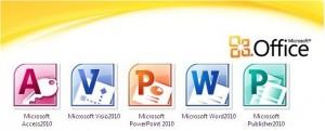 i loghi delle principali applicazioni di Microsoft Office (Access2010, Visio2010, PowerPoint2010, Word2010 e Publisher2010