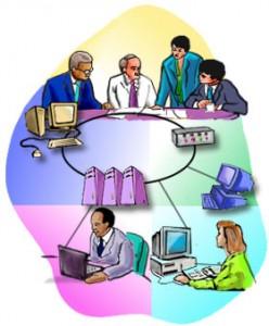Ovale con all'interno persone e terminali collegate tra loro e ad un computer