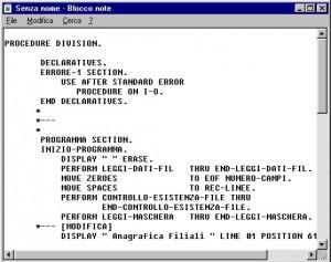 Pagina di codice di un programma cobol