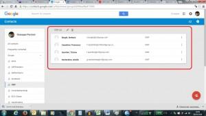 Schermata di una rubrica di Gmail