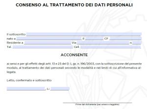 modulo di autorizzazione al trattamento dei dati personali