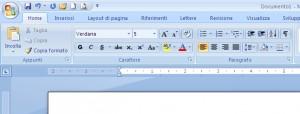 Parte di schermata di Word dove si vede il righello