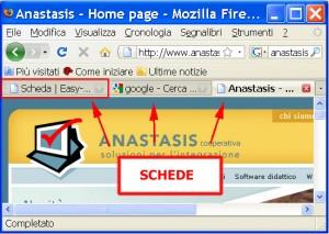 Schermata di Mozilla tre schede indicate da frecce rosse