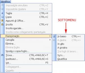 immagine del sottomenu riempimento che appare posizionandosi sul comando Riempimento del menu Modifica