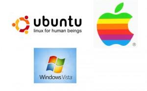 Figura con tre loghi. Quello di Ubuntu, quello di Apple e quello di Windows