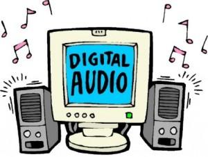 Disegno di un computer con casse acustiche ai lati che stanno emettendo musica e con sul video scritto Digital Audio