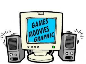 Disegno di un computer con casse acustiche ai lati e con sul video scritto Games, Movies, Graphics