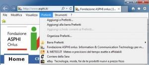 Schermata della home page di ASPHI con aperta la tendina del menu Preferiti