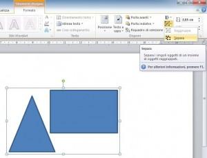 immagine di Power Point con due oggetti geometrici raggruppati in un unico oggetto e con il comando Separa selezionato che rende attiva la sua descrizione