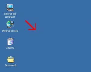 schermata del desktop di Windows con freccia rossa che indica lo sfondo