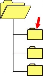 disegno di una cartella aperta collegata ad altre tre sottocartelle. Una freccia rossa indica la sottocartella