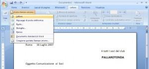 schermata di Word con aperta la tendina Inizia stampa unione e selezionato il comando Lettere