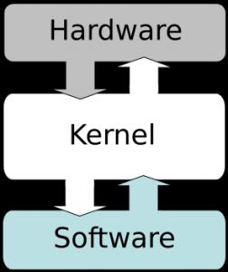Immagine con i tre livelli Hardware- Kernel- Software
