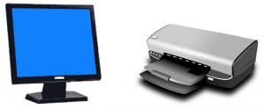 Immagine con uno schermo ed una stampante