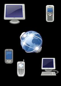Figura con al centro il mondo e collegati ad esso figure di computer e telefoni