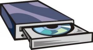 Disegno di un lettore CD esterno aperto e con un CD dentro