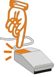 Mano arancione che indica il tasto sinistro del mouse.