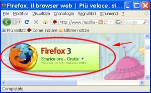 fINESTRA DI fIREFOX CON EVIDENZIATO IL MESSAGGIO CHE INVITA A SCARICARE fIREFOX 3 GRATIS