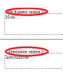 figura con due parti. Nella prima è evidenziata da un ellisse la scritta Pie di pagina-sezione 1, nella seconda Intestazione-sezione2.