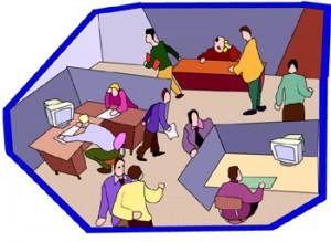 Disegno di un ufficio con varie scrivanie, computer e tanti impiegati
