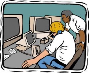 disegno di due persone che lavorano con telefono e computer