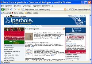 Schermata di Firefox che visualizza la home page del comune di Bologna