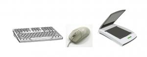 immagine composta da: una tastiera, un mouse e uno scanner