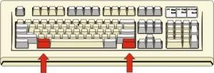 figura di tastiera con il tasto ALT colorato in rosso