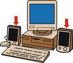 Disegno di un computer con ai lati due altoparlanti