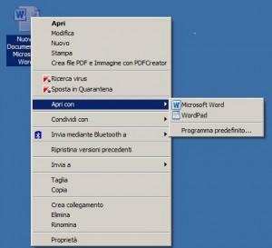 Immagine di un menu di contesto con evidenziato il comando 'Apri con'