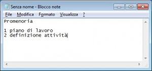 Schermata con Blocco note aperto