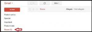 Schermata di Gmail con indicata da una freccia rossa la cartella delle Bozze