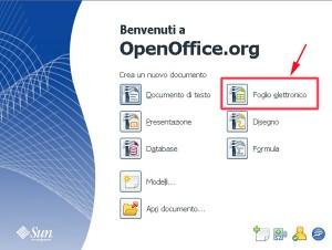 Schermata iniziale di Open Office con evidenziato in rosso il programma Calc