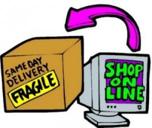 Video con scritta 'Shop on line' da cui parte una freccia che indica un pacco con la scritta Fragile