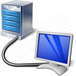 computer collegato ad un o schermo attraverso un grosso cavo