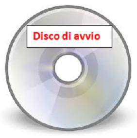 disegno di un CD con scritto sull'etichetta Disco di avvio