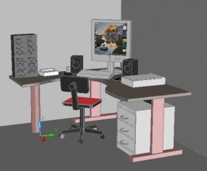 Disegno di una scrivania con sopra un computer fatto in modo che sembra tridimensionale