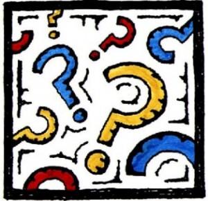 Riquadro pieno di punti interrogativi colorati