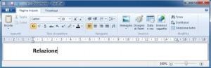 Finestra contenente un testo di WordPad